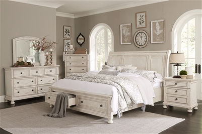Bethel 6 Piece Bedroom Set in Wire-Brushed White by Home Elegance - HEL-2259W-1-4