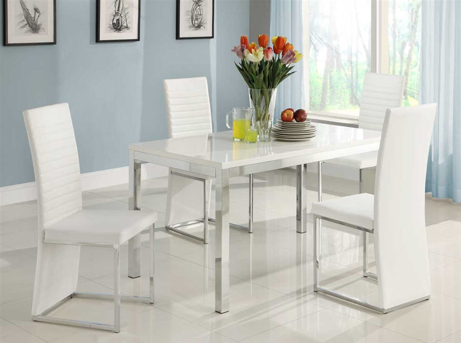 Clarice 5 Piece Dining Set In Glossy White By Home Elegance Hel 2447
