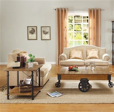 Factory 2 Piece Occasional Table Set in Burnished Rustic Wood by Home Elegance - HEL-3228-30