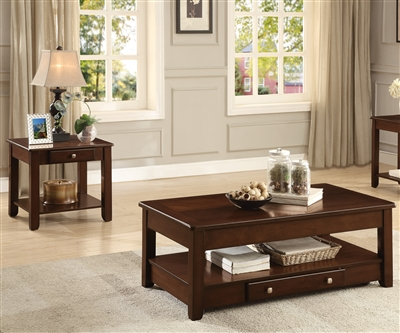 Ballwin 2 Piece Occasional Table Set in Deep Cherry by Home Elegance - HEL-3256RF-30