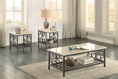 Fairhope 3 Piece Occasional Table Set with Faux Marble Top by Home Elegance - HEL-3580-31-3PK