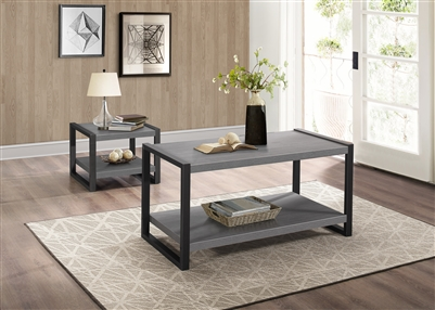 Dogue 2 Piece Occasional Table Set in Gunmetal by Home Elegance - HEL-3606-30