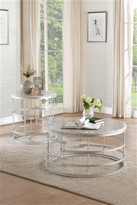 Brassica 2 Piece Occasional Table Set in Silver by Home Elegance - HEL-3608SV-01