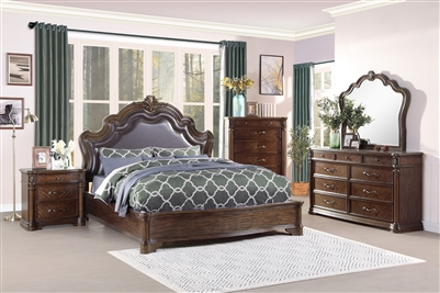 Barbary 6 Piece Bedroom Set in Cherry by Home Elegance - HEL-3618-1-4