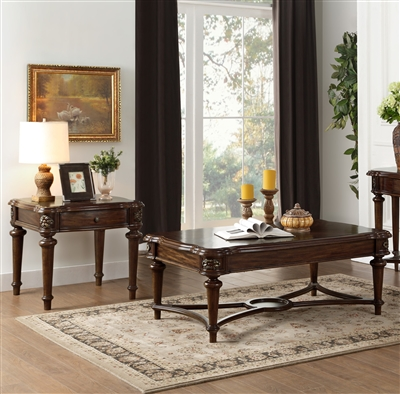 Barbary 2 Piece Occasional Table Set in Cherry by Home Elegance - HEL-3618-30