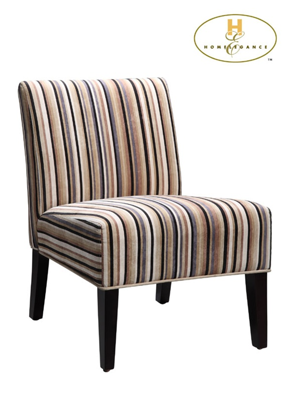 Lifestyle Classic Multi Colored Stripe Fabric Armless Lounge Chair By  Homelegance   468F7S