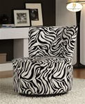 Easton Wild Zebra Fabric Swivel Lounge Chair by Homelegance - 488F6S