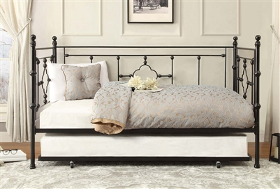Auberon Metal Daybed with Trundle in Black by Home Elegance - HEL-4968BK-NT