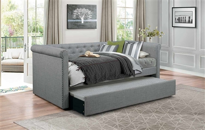 Edmund Daybed with Trundle in Grey by Home Elegance - HEL-4970