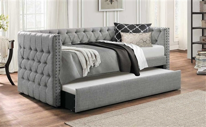 Adalie Daybed with Trundle in Grey by Home Elegance - HEL-4971