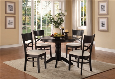 Clancy 5 Piece Round Dining Set in Warm Black Tone by Home Elegance - HEL-5067-5PK