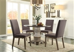 Anna Claire 5 Piece Round Dining Set in Driftwood by Home Elegance - HEL-5428-45RD-5S1