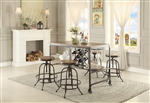 Angstrom 5 Piece Counter Height Dining Set with Wine Rack in Light Oak by Home Elegance - HEL-5429-36-5ST