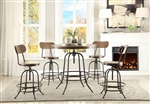 Angstrom 5 Piece Counter Height Round Dining Set in Light Oak by Home Elegance - HEL-5429-36RD-5