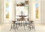 Angstrom 5 Piece Counter Height Round Dining Set in Light Oak by Home Elegance - HEL-5429-36RD-5ST