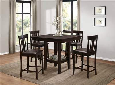 Diego 5 Piece Counter Height Dining Set in Espresso by Home Elegance - HEL-5460-36-5