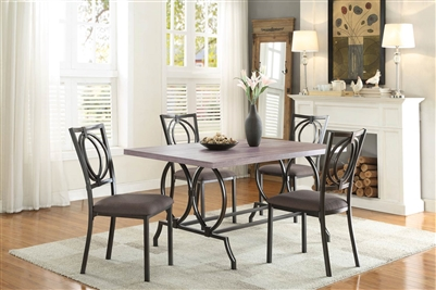 Chama 5 Piece Dining Set in Metal/Wood by Home Elegance - HEL-5469-60-5