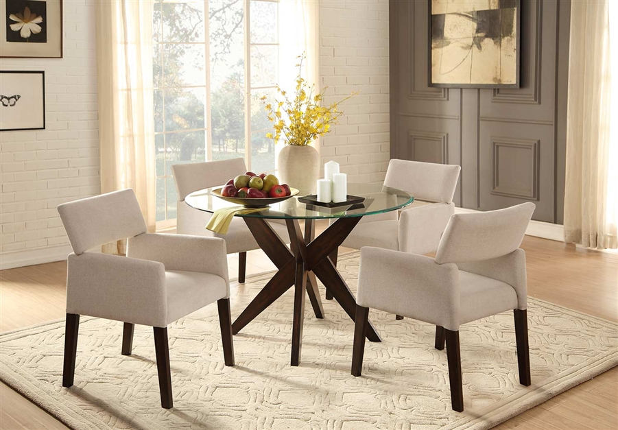 Massey 5 Piece Round Dining Set With Glass Top In Espresso By Home Elegance HEL 5491 48 5A