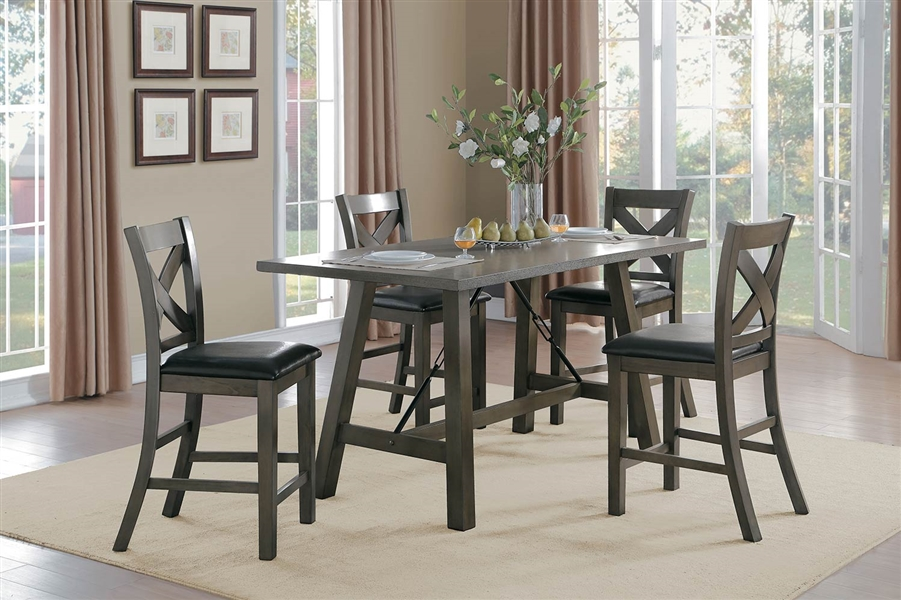 Seaford 5 Piece Counter Height Dining Set In Gray By Home