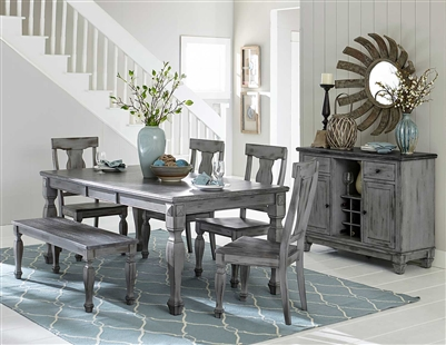 Fulbright 5 Piece Dining Set in Gray Rub Through by Home Elegance - HEL-5520-78-5