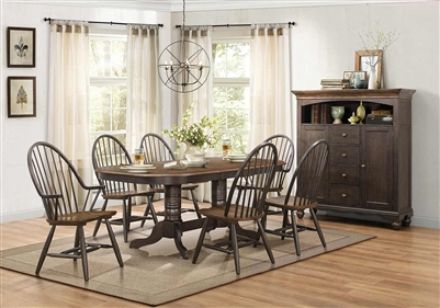 Cline 7 Piece Double Pedestal Dining Set in Two Tone by Home Elegance - HEL-5530-78-7
