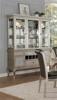 Crawford Buffet & Hutch in Silver by Home Elegance - HEL-5546-50
