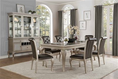 Crawford 5 Piece Dining Set in Silver by Home Elegance - HEL-5546-84-5