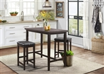 Tirel 3 Piece Counter Height Dining Set in Dark Brown by Home Elegance - HEL-5550-32-3PK