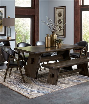 Cabezon 5 Piece Dining Set in Live Edge Mindy Wood by Home Elegance - HEL-5555-72-5