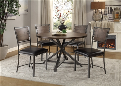 Fideo 5 Piece Round Dining Set in Burnished by Home Elegance - HEL-5606-45RD-5