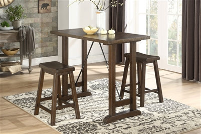 Bracknell 3 Piece Counter Height Dining Set in Brown Cherry by Home Elegance - HEL-5686-32-3