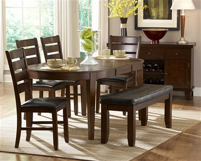 Ameillia 7 Piece Oval Dining Set in Dark Oak by Home Elegance - HEL-586-76-7