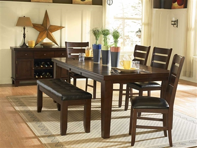 Ameillia 7 Piece Dining Set in Dark Oak by Home Elegance - HEL-586-82-7