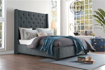 Fairborn Queen Bed in Dark Gray by Home Elegance - HEL-5877GY-1