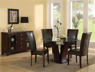 Daisy 5 Piece Round Dining Set with Glass Top in Espresso by Home Elegance - HEL-710-54-5S