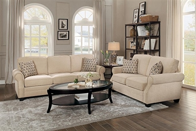 Bechette 2 Piece Sofa Set in Natural Tone by Home Elegance - HEL-8204