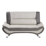 Veloce Love Seat in Beige & Gray by Home Elegance - HEL-8219BEG-2
