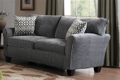 Alain Love Seat in Lightly Textured Gray by Home Elegance - HEL-8225NGY-2