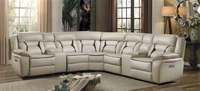 Amite Reclining Sectional Sofa in Beige by Home Elegance - HEL-8229