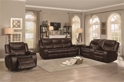 Bastrop 2 Piece Double Reclining Sofa Set in Dark Brown by Home Elegance - HEL-8230BRW