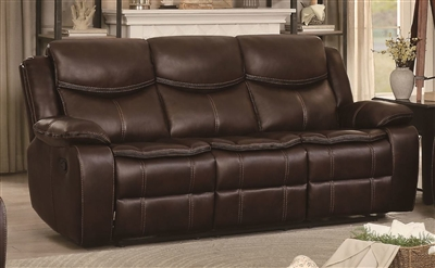 Bastrop Double Reclining Sofa in Dark Brown by Home Elegance - HEL-8230BRW-3