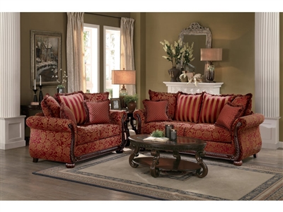 Grande Isle 2 Piece Sofa Set in Red by Home Elegance - HEL-8234RD