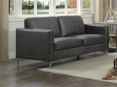Breaux Love Seat in Grey by Home Elegance - HEL-8235GY-2