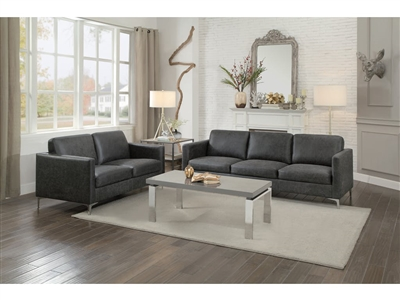 Breaux 2 Piece Sofa Set in Grey by Home Elegance - HEL-8235GY