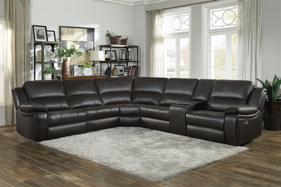 Falun Reclining Sectional Sofa in Dark Brown by Home Elegance -  HEL-8260DB-6PW