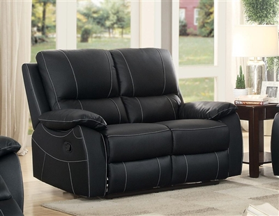 Greeley Double Reclining Love Seat in Black by Home Elegance - HEL-8325BLK-2