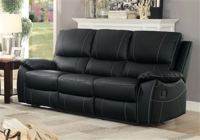 Greeley Double Reclining Sofa in Black by Home Elegance - HEL-8325BLK-3