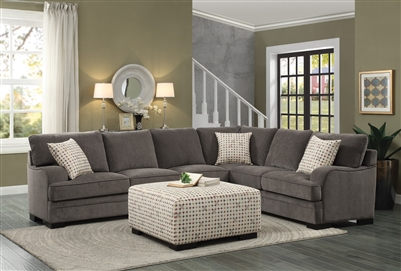 Alamosa Sectional Sofa in Brown by Home Elegance - HEL-8335