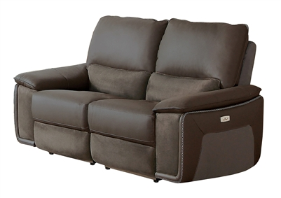 Corazon Power Double Reclining Love Seat in Gray by Home Elegance - HEL-8355-2PW