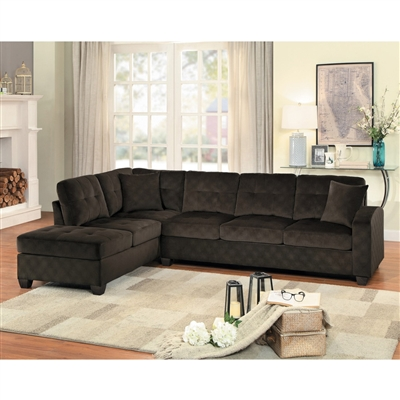 Emilio Sectional Sofa in Chocolate by Home Elegance - HEL-8367CH